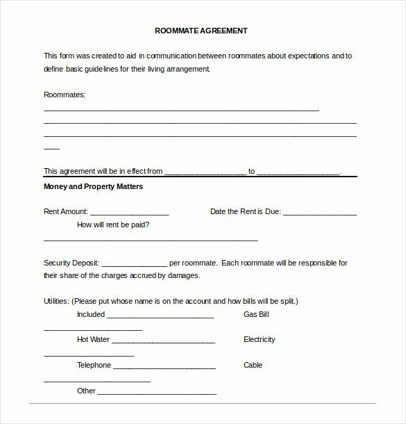 Free Roommate Agreement Template Elegant Roommate Agreement Template – 12 Free Word Pdf Document