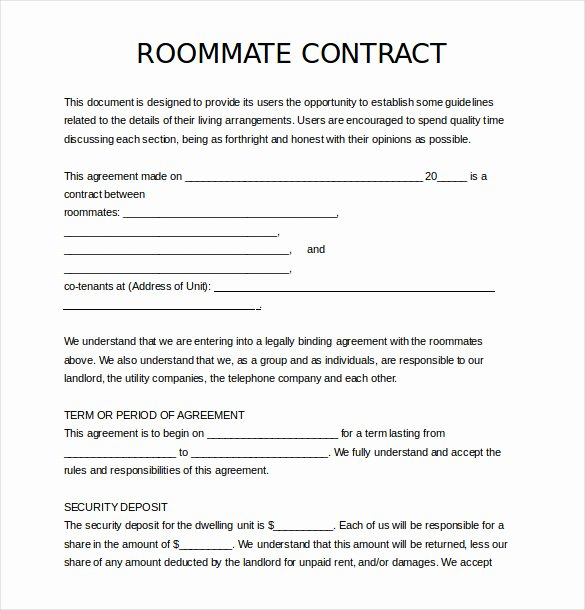 Free Roommate Agreement Template Lovely 17 Roommate Agreement Templates – Free Word Pdf format