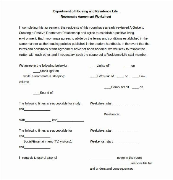 Free Roommate Agreement Template Luxury Roommate Agreement Template – 12 Free Word Pdf Document