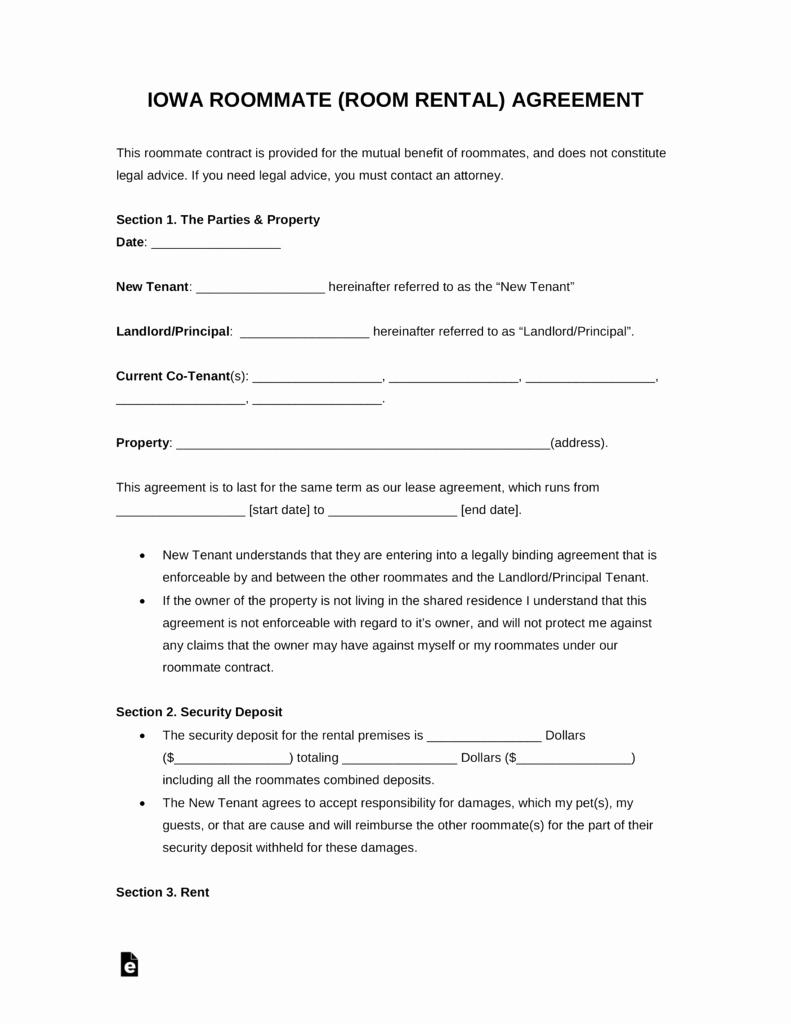 Free Roommate Agreement Template Unique Free Kansas Room Rental Roommate Agreement form Pdf