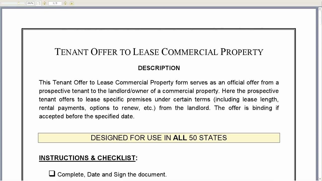 Free Sample Letter Of Intent to Lease A Commercial Space Best Of Tenant Fer to Lease Mercial Property