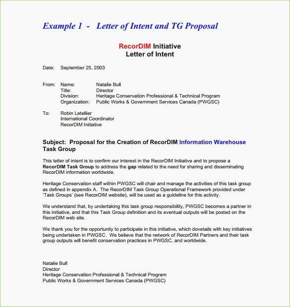 Free Sample Letter Of Intent to Lease A Commercial Space New Letter Intent format for Business Proposal