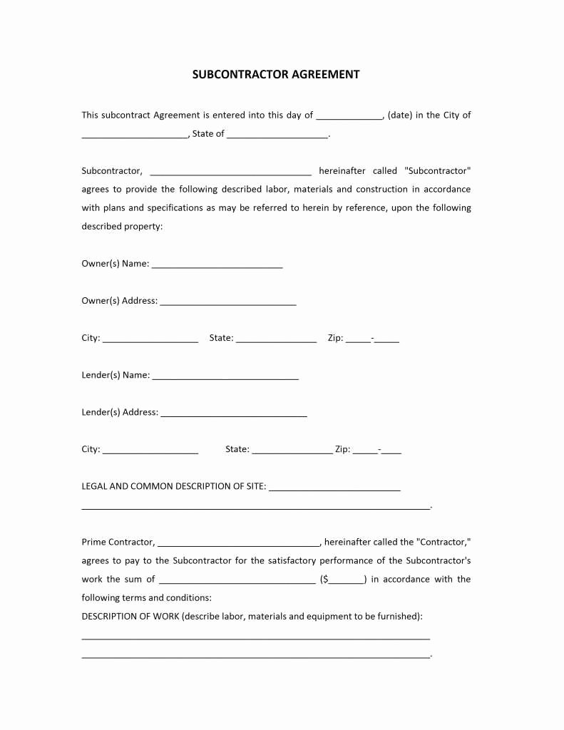 Free Subcontractor Agreement Template Word Beautiful 12 Detail Subcontractor Agreement Template Word Da