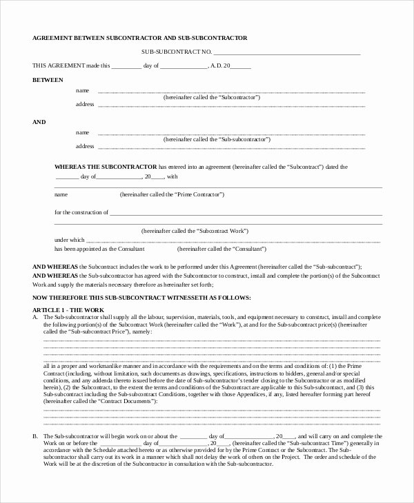 Free Subcontractor Agreement Template Word Best Of Sample Subcontractor Agreement 9 Examples In Pdf Word