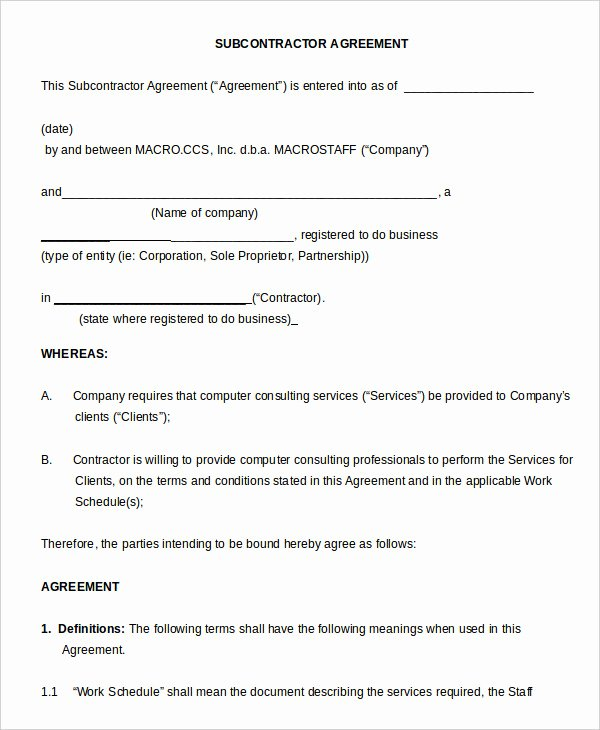 Free Subcontractor Agreement Template Word Elegant 7 Non Pete Agreement Templates Pdf Word