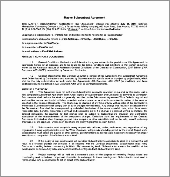Free Subcontractor Agreement Template Word Fresh 12 Subcontractor Information form Template Troau