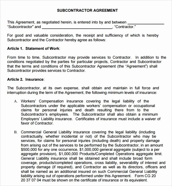 Free Subcontractor Agreement Template Word Inspirational Sample Subcontractor Agreement 17 Free Documents