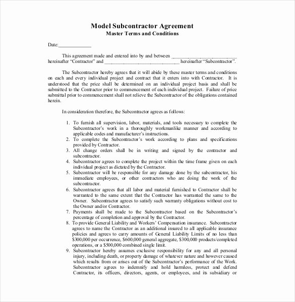 Free Subcontractor Agreement Template Word Lovely 13 Subcontractor Agreement Templates – Word Pdf Pages