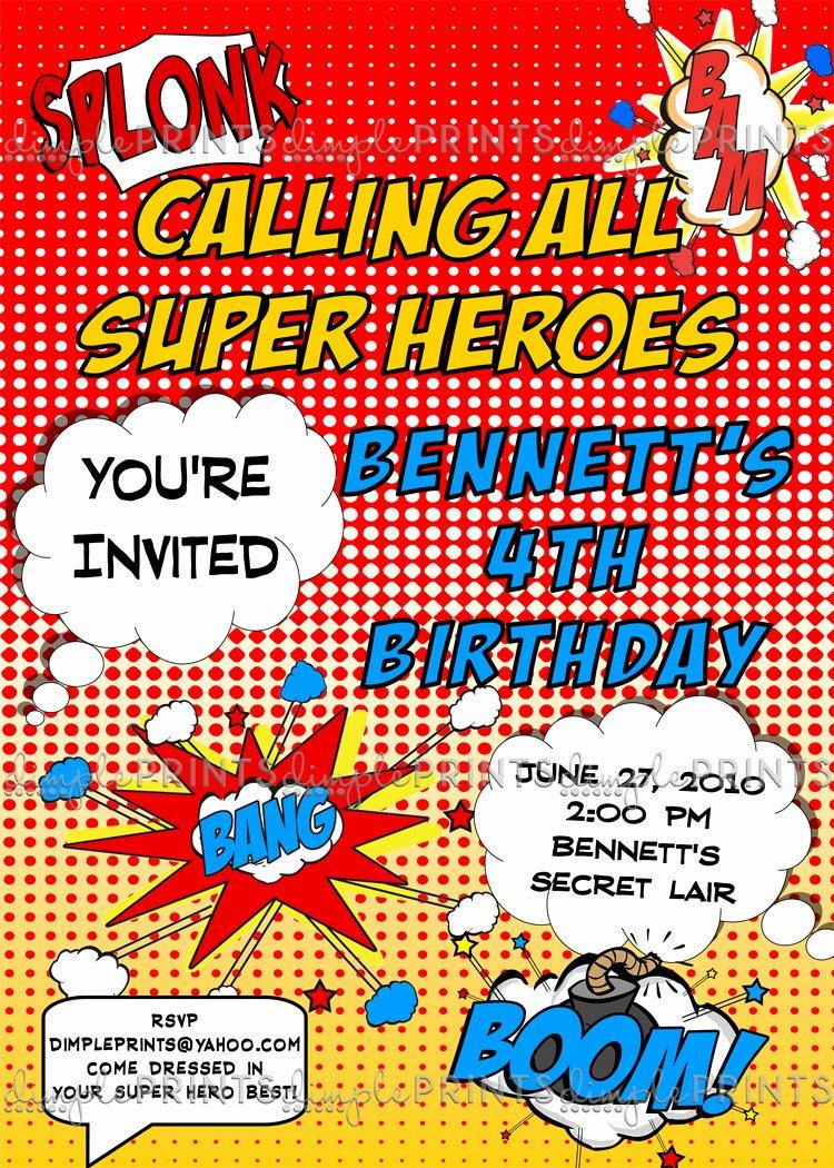 Free Superhero Invitation Templates Awesome Superhero Ic Printable Invitation Dimple Prints Shop