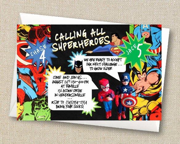 Free Superhero Invitation Templates Best Of 21 Superhero Birthday Invitations Psd Vector Eps Ai