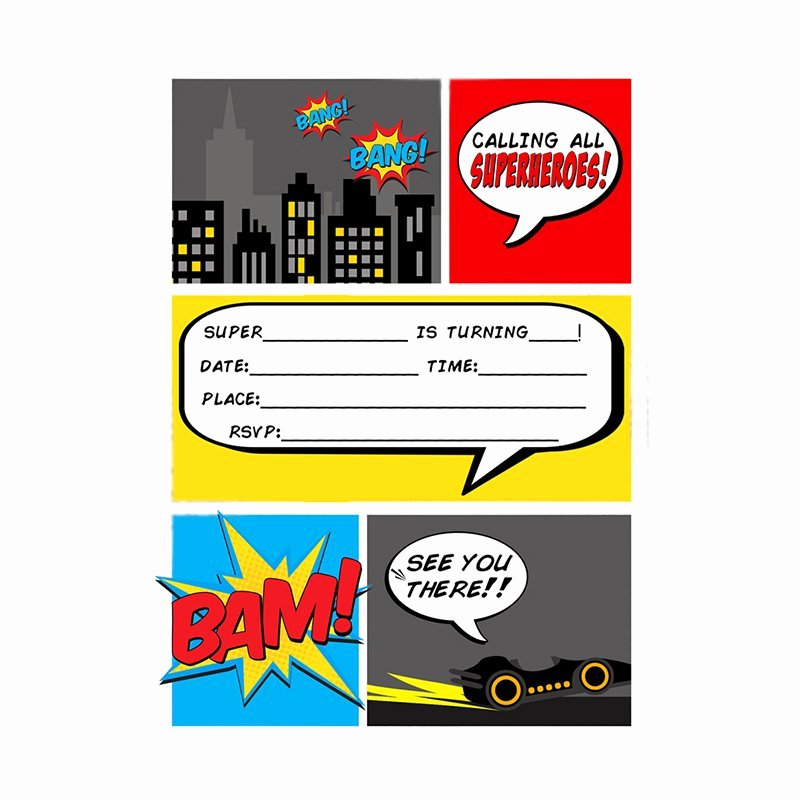 Free Superhero Invitation Templates Best Of Super Hero Party Invitations Blank