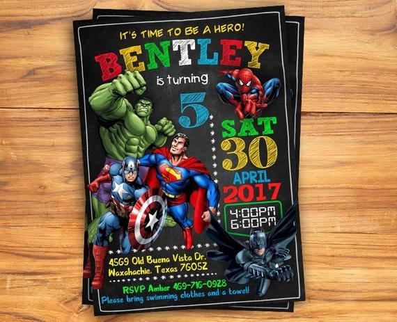 Free Superhero Invitation Templates Elegant Superhero Invitation Superhero Avenger Birthday Invitation