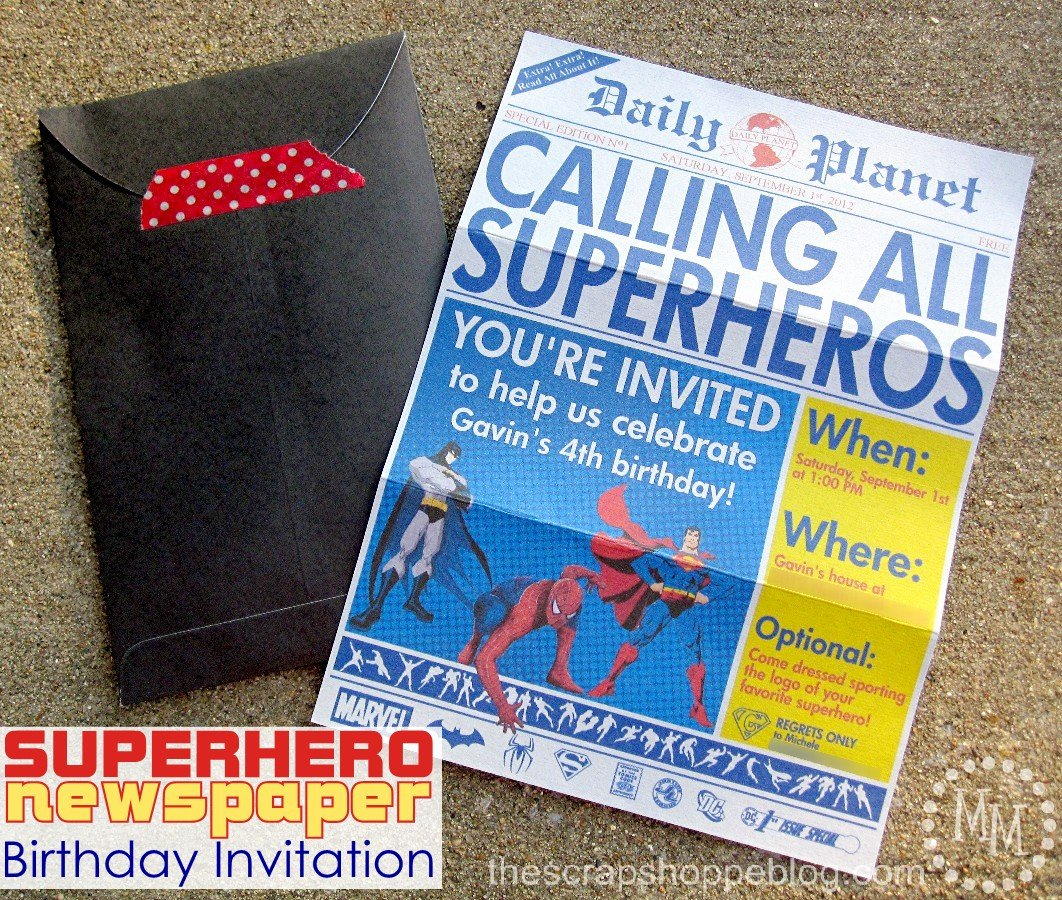 Free Superhero Invitation Templates Lovely Superhero Newspaper Birthday Invitation the Scrap Shoppe