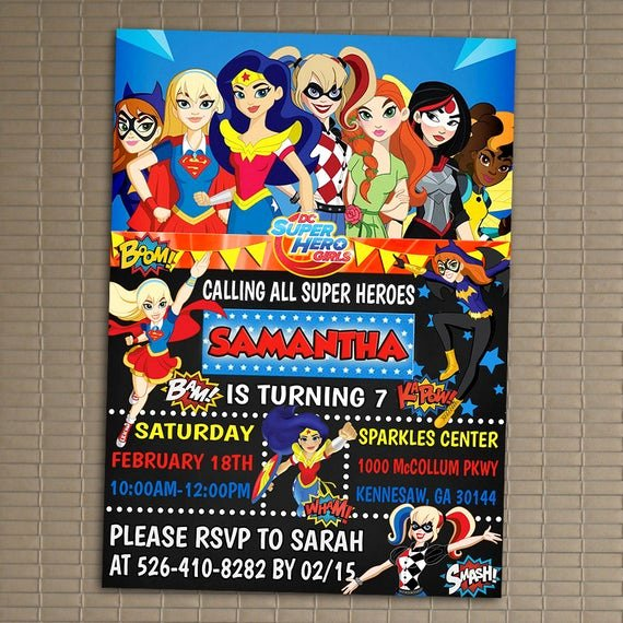 Free Superhero Invitation Templates Luxury Dc Superhero Girls Invitation You Print Invitation Dc