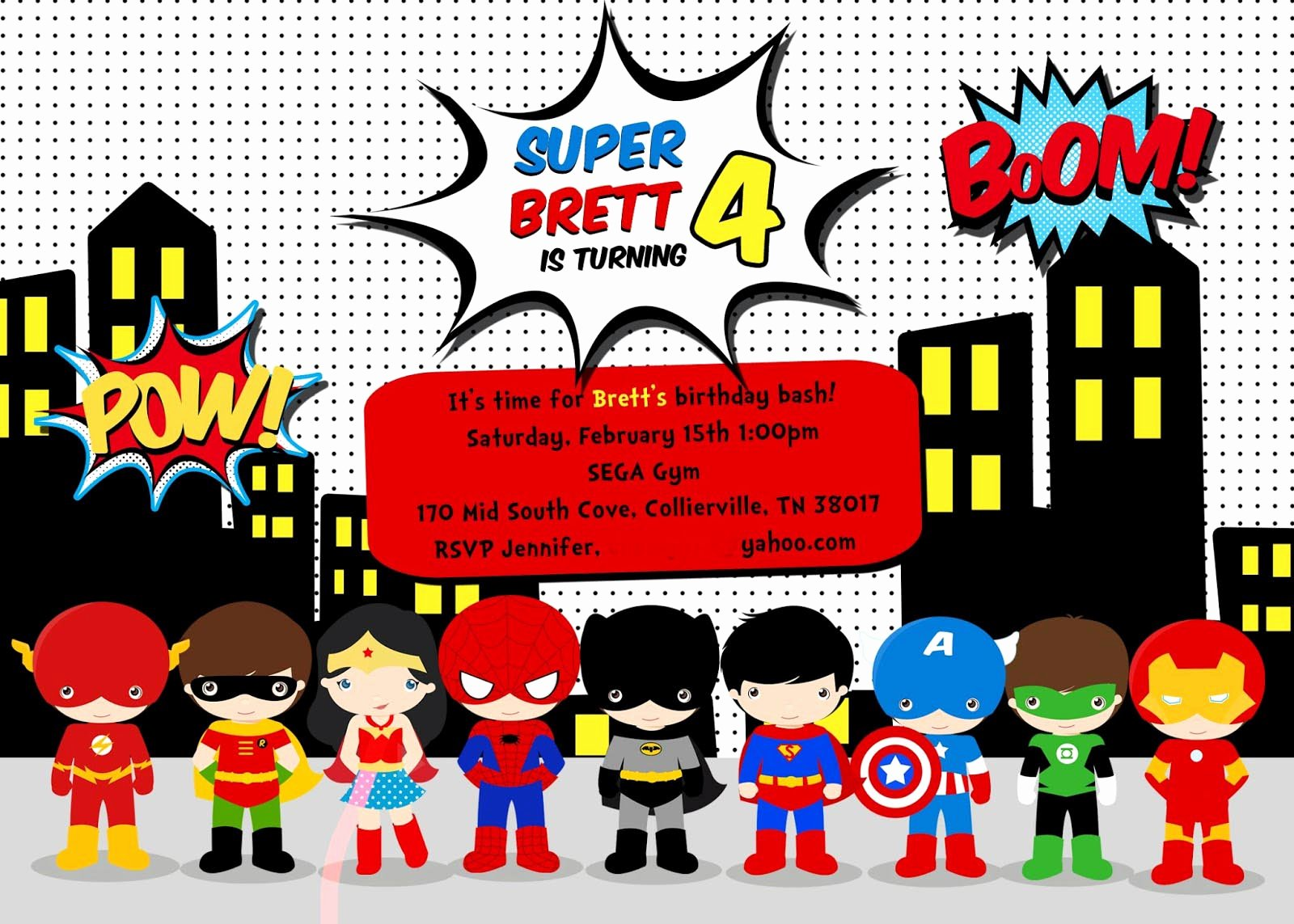 Free Superhero Invitation Templates New Free Superhero Birthday Party Invitation Templates