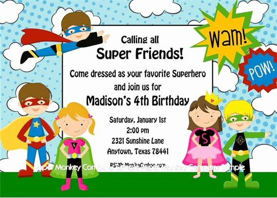 Free Superhero Invitation Templates New Superhero Birthday Invitations