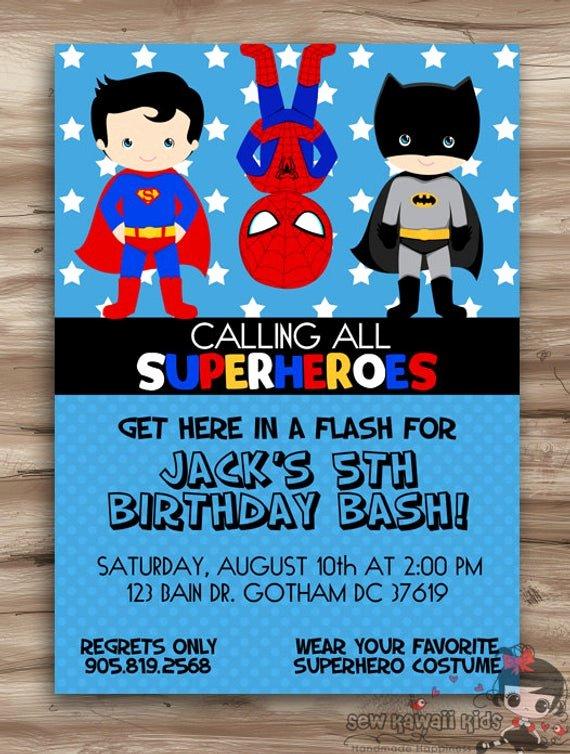 Free Superhero Invitation Templates Unique Superhero Birthday Invitation Superhero by Kawaiikidsdesign