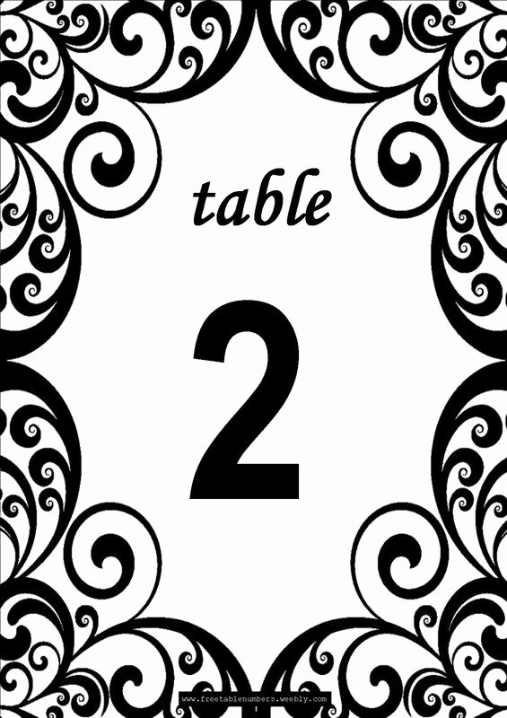 Free Table Number Templates 4x6 Beautiful Free Swirls Printable Diy Table Numbers Free Table