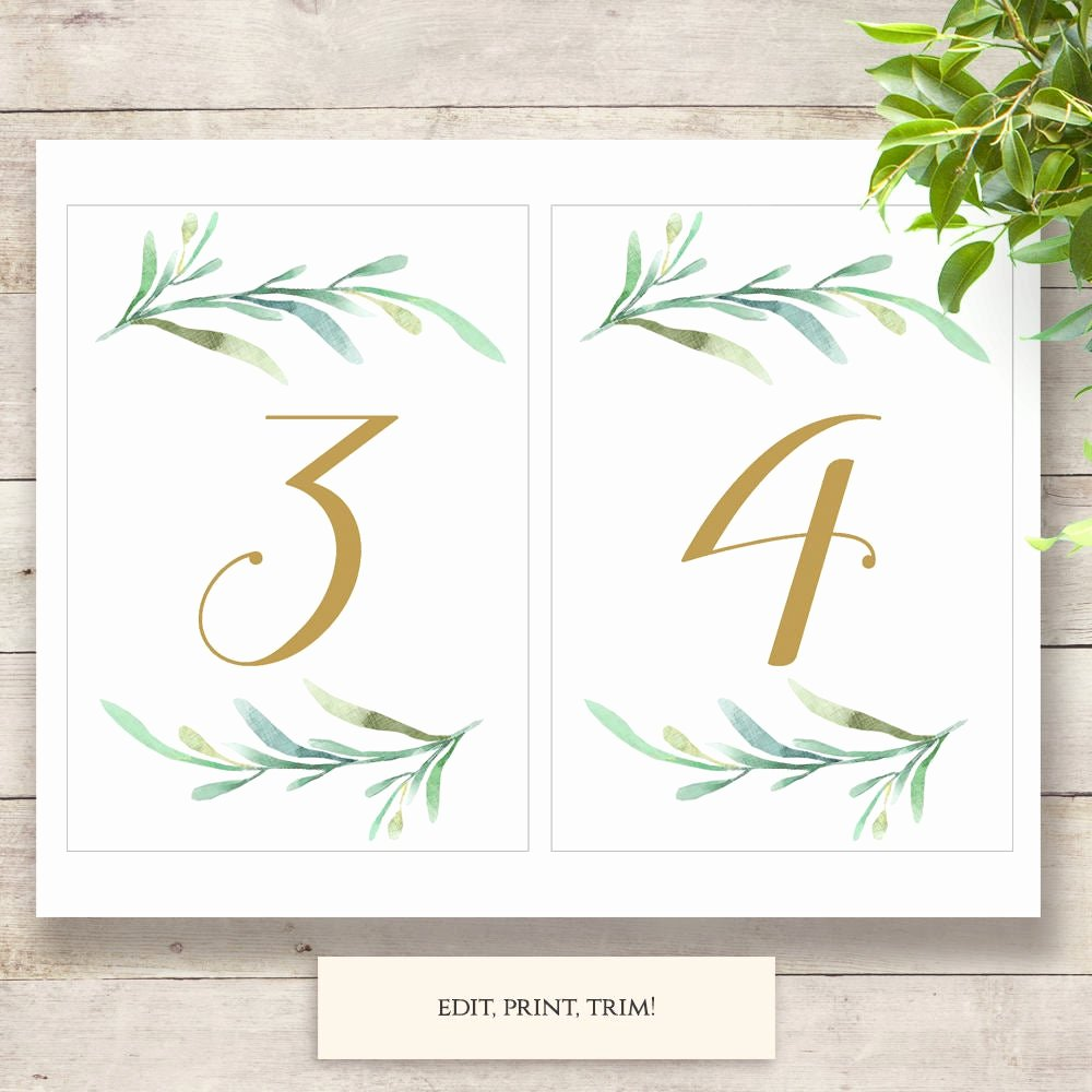 Free Table Number Templates 4x6 Fresh Greenery Wedding Table Numbers Template Printable