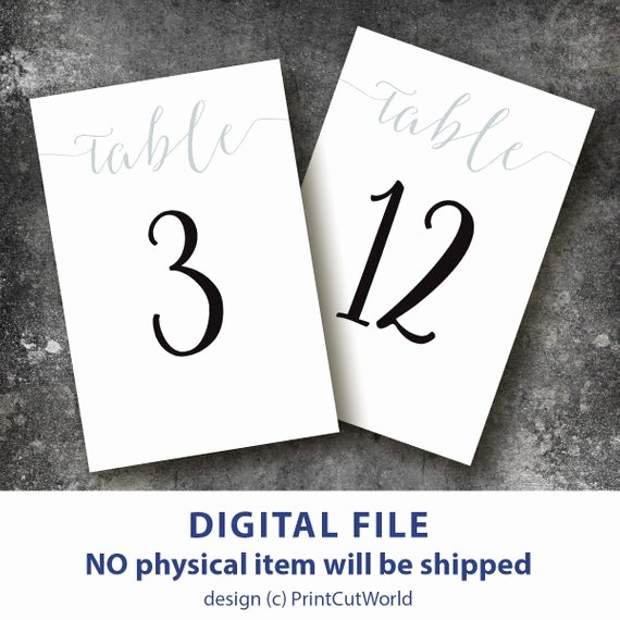 Free Table Number Templates 4x6 New Table Number Template 4x6 Silver Wedding Table Numbers