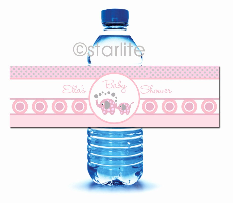 Free Water Bottle Label Template Baby Shower Beautiful Elephant Baby Shower Printable Water Bottle Labels Elephant