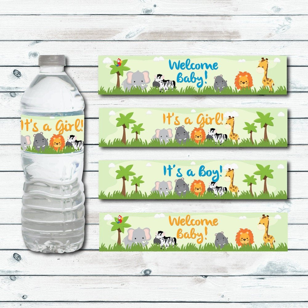Free Water Bottle Label Template Baby Shower Best Of Safari Water Bottle Labels Printable Jungle Baby Shower Water