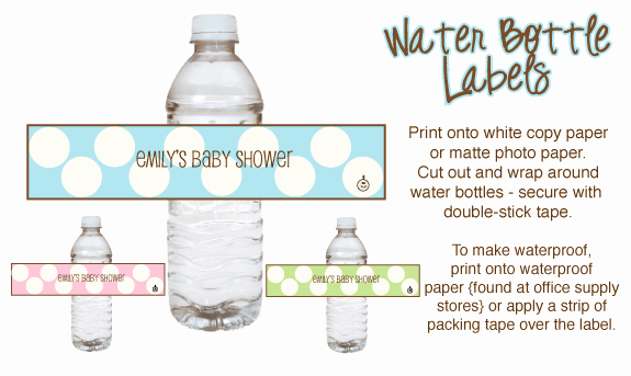 Free Water Bottle Label Template Baby Shower Elegant Polka Dot Baby Shower theme Ideas with and Printables