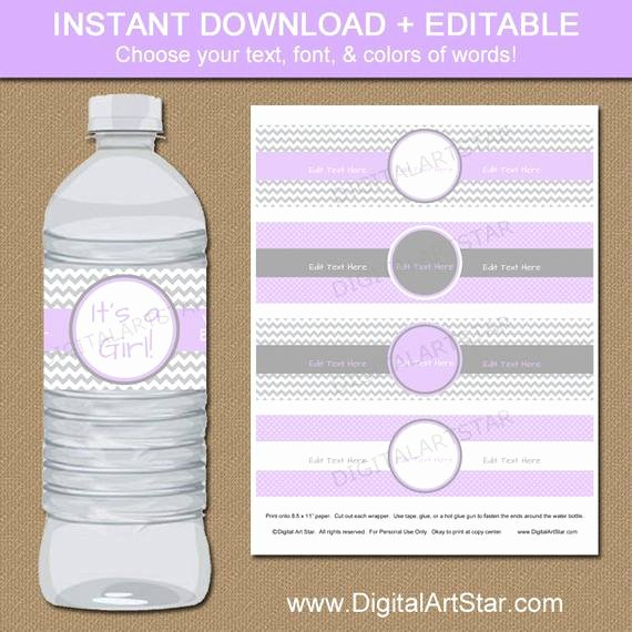 Free Water Bottle Label Template Baby Shower Fresh Lavender & Grey Baby Shower Water Bottle Labels by