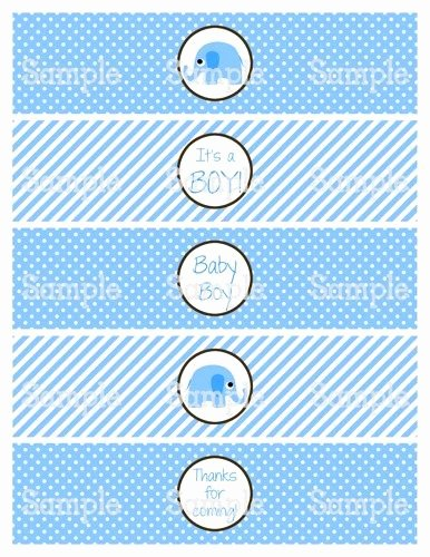 Free Water Bottle Label Template Baby Shower Inspirational Printable M2m Blue Elephant Baby Shower Water Bottle