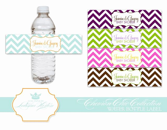 Free Water Bottle Label Template Baby Shower Lovely Chevron Collection Printable Water Bottle Labels