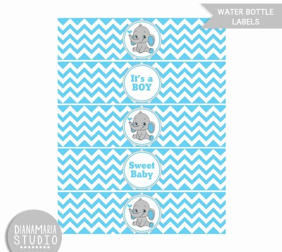 Free Water Bottle Label Template Baby Shower Luxury Water Bottle Labels Blue Elephant Baby Shower Printable