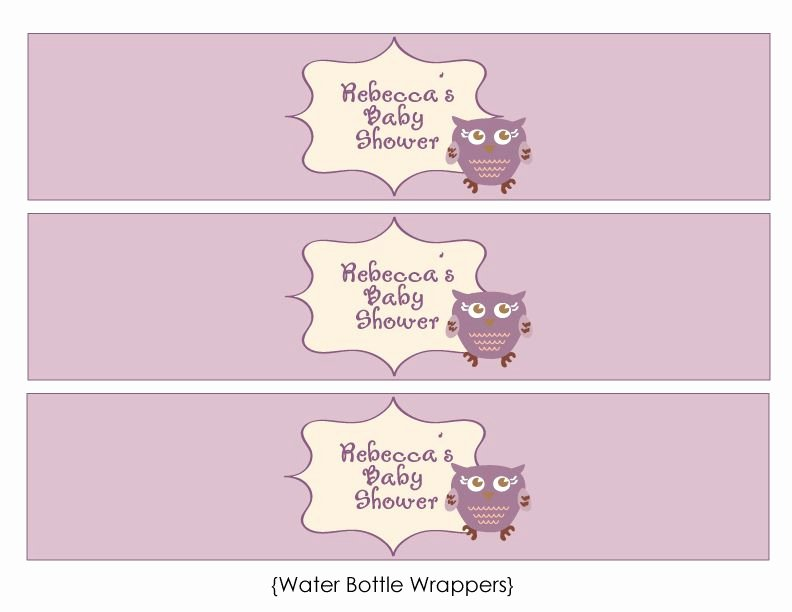 Free Water Bottle Label Template Baby Shower New Free Owl Baby Shower Templates