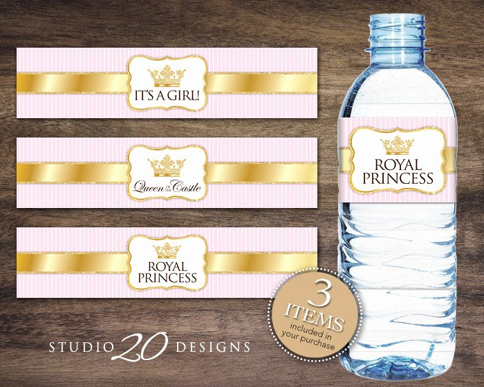 Free Water Bottle Label Template Baby Shower New Instant Download Royal Princess Bottle Labels Printable Gold