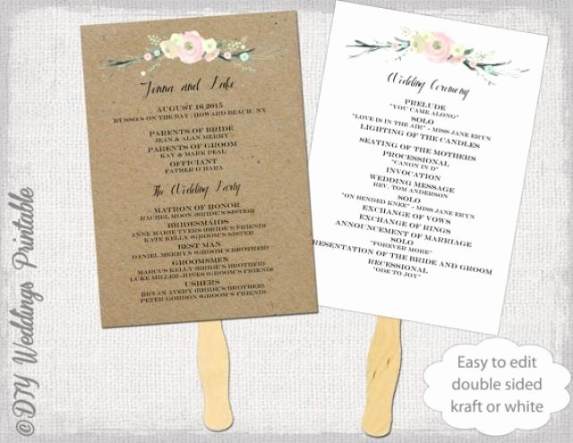 "Free Wedding Program Fan Templates Awesome Wedding Program Fan Template ""rustic Flowers"" Diy Kraft"