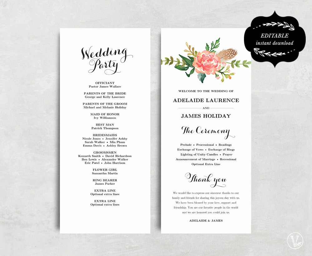 Free Wedding Program Fan Templates Beautiful Printable Wedding Program Template Floral Wedding Program