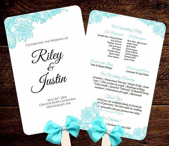 Free Wedding Program Fan Templates Best Of Wedding Fan Program Template Printable Tiffany Blue Fan