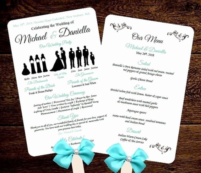 Free Wedding Program Fan Templates Unique Diy Silhouette Wedding Fan Program W Menu Printable