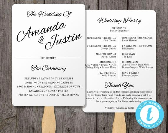Free Wedding Program Fan Templates Unique Printable Wedding Program Fan Template Fan Wedding by