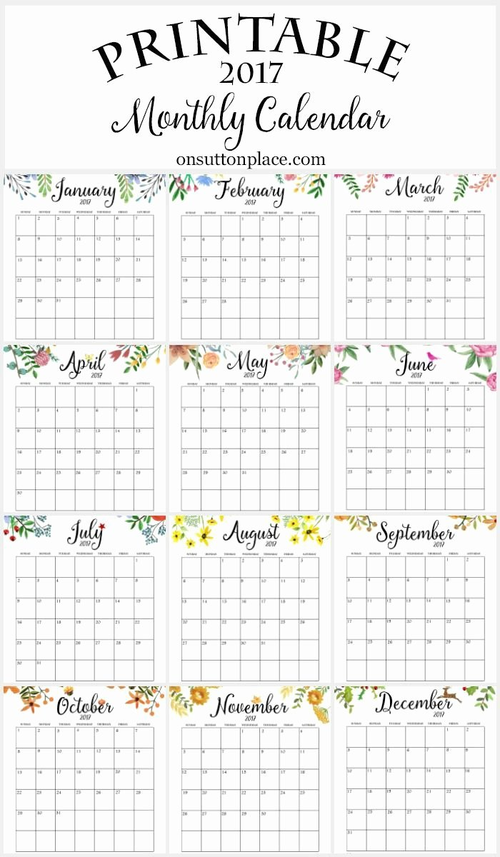 Free Yearly Calendar 2017 Awesome 2017 Free Printable Monthly Calendar