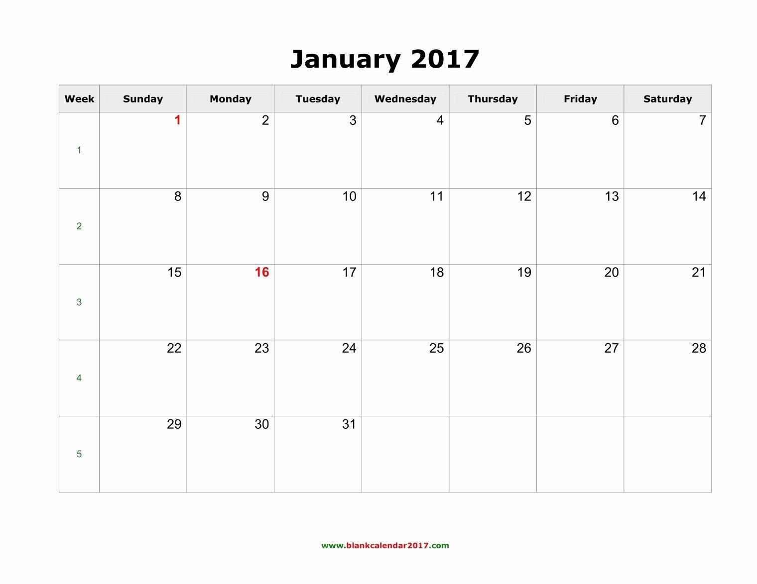 Free Yearly Calendar 2017 Awesome Blank Calendar January 2017 Landscape