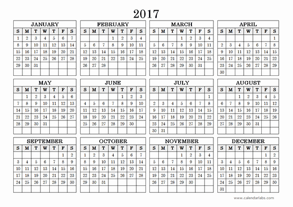 Free Yearly Calendar 2017 Best Of 2017 Yearly Calendar Landscape 09 Free Printable Templates