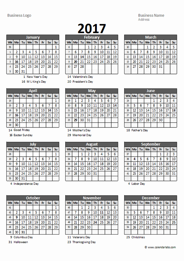 Free Yearly Calendar 2017 Best Of 2017 Yearly Spreadsheet Calendar Free Printable Templates