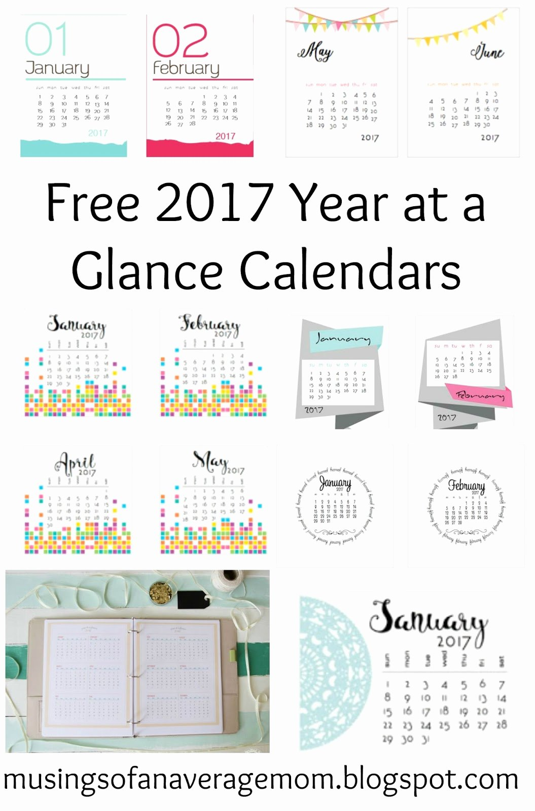 Free Yearly Calendar 2017 Elegant Musings Of An Average Mom 2017 Monthly Calendars
