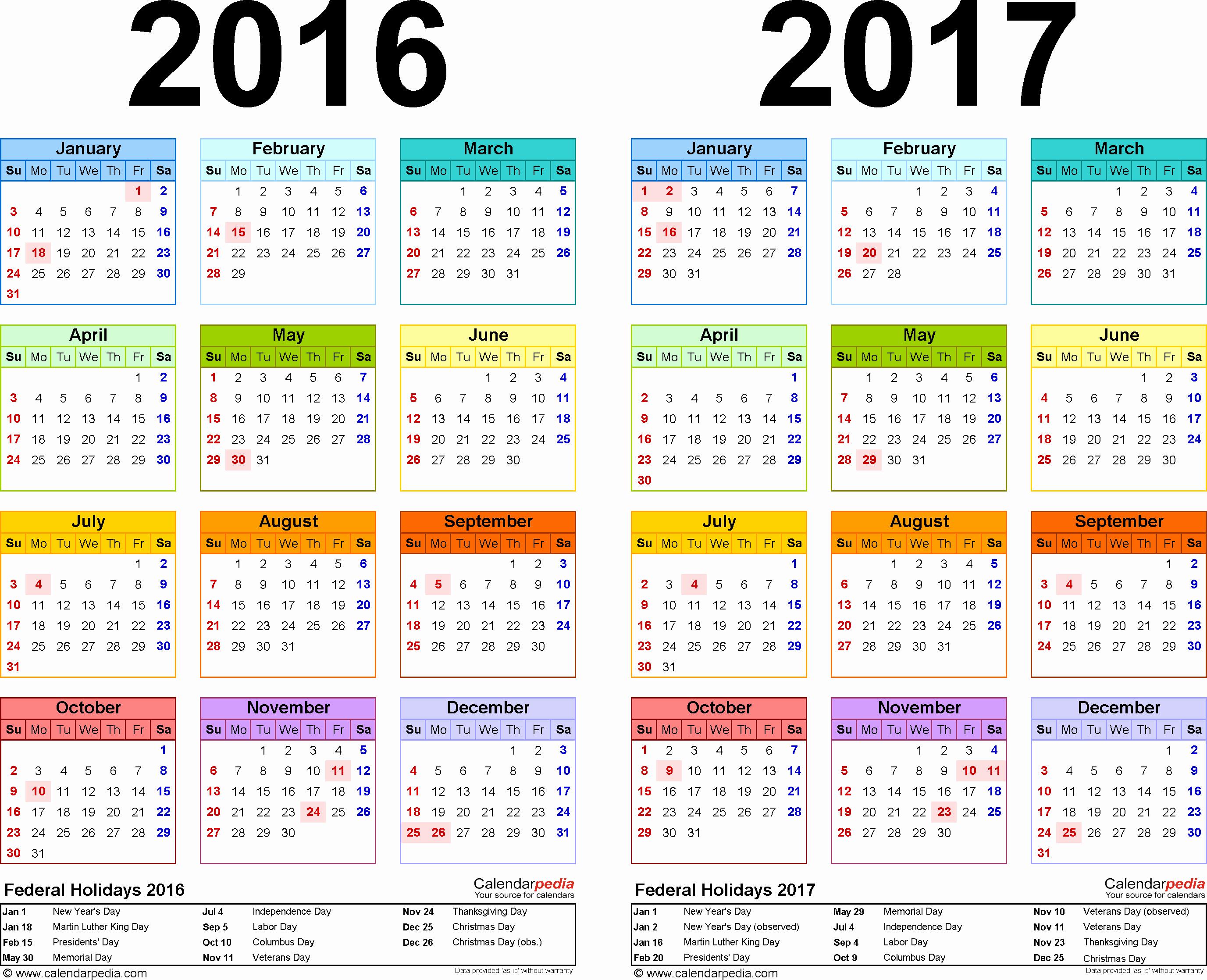 Free Yearly Calendar 2017 Fresh 2016 2017 Calendar Free Printable Two Year Pdf Calendars