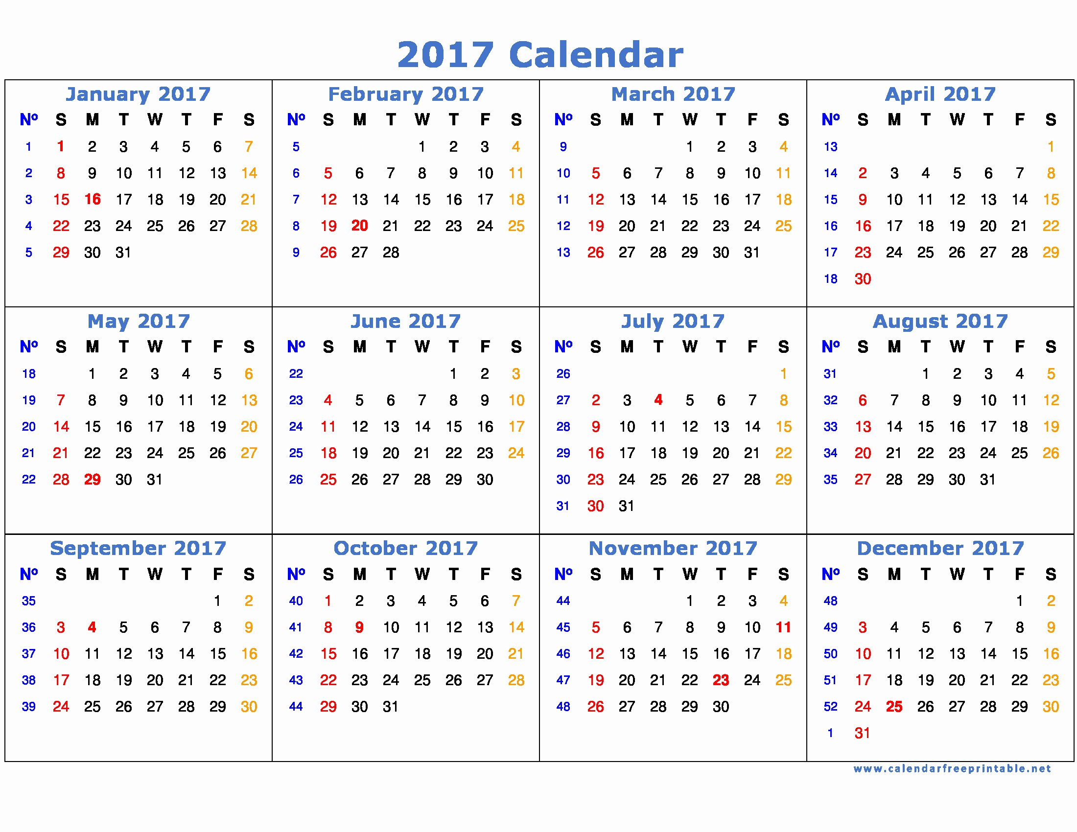 Free Yearly Calendar 2017 Fresh 2017 Calendar Printable