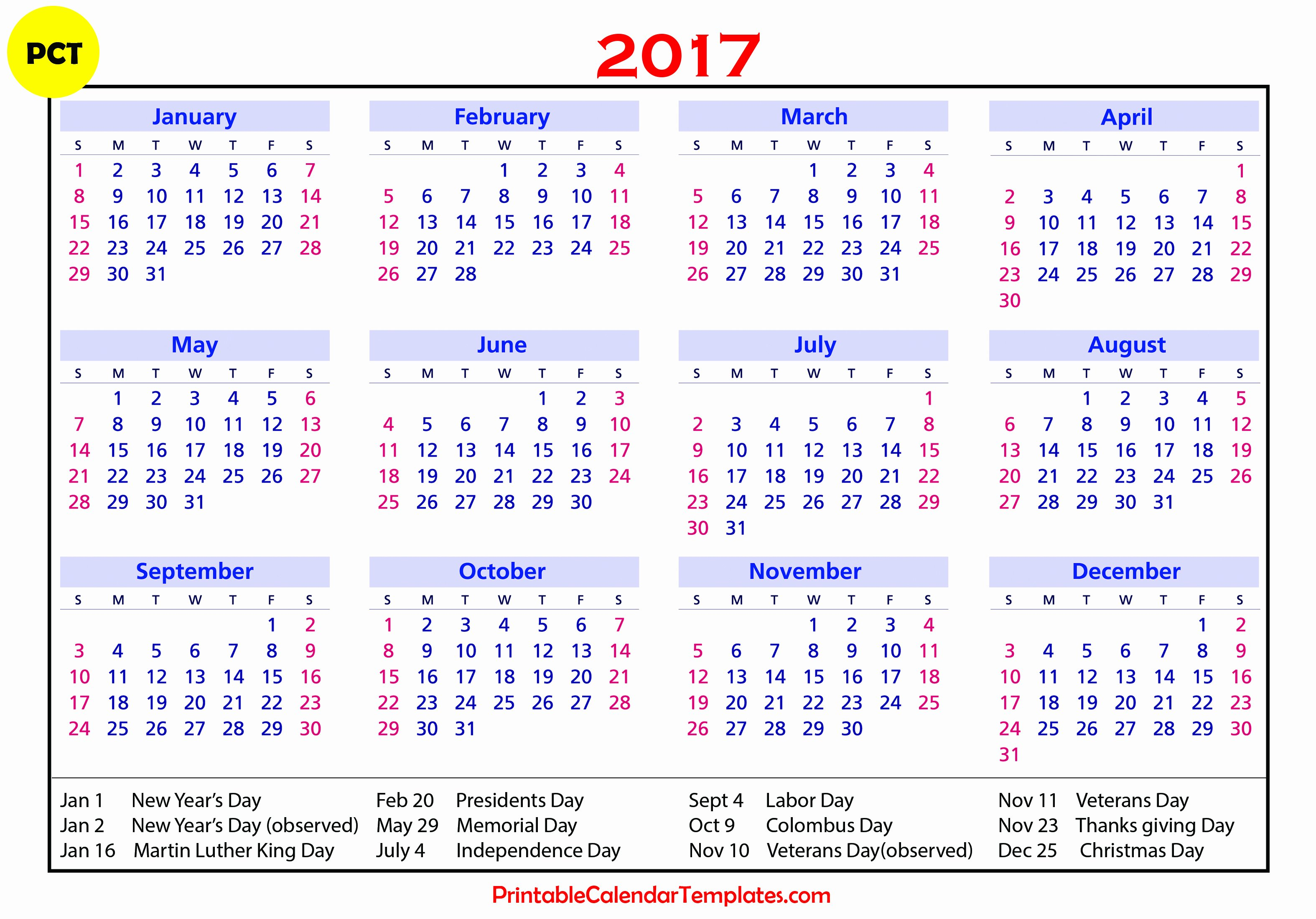 Free Yearly Calendar 2017 Fresh 2017 Calendar with Holidays