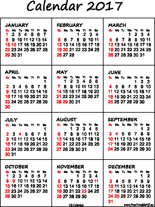 Free Yearly Calendar 2017 Fresh Printable Calendar 2017 for Us Pdf