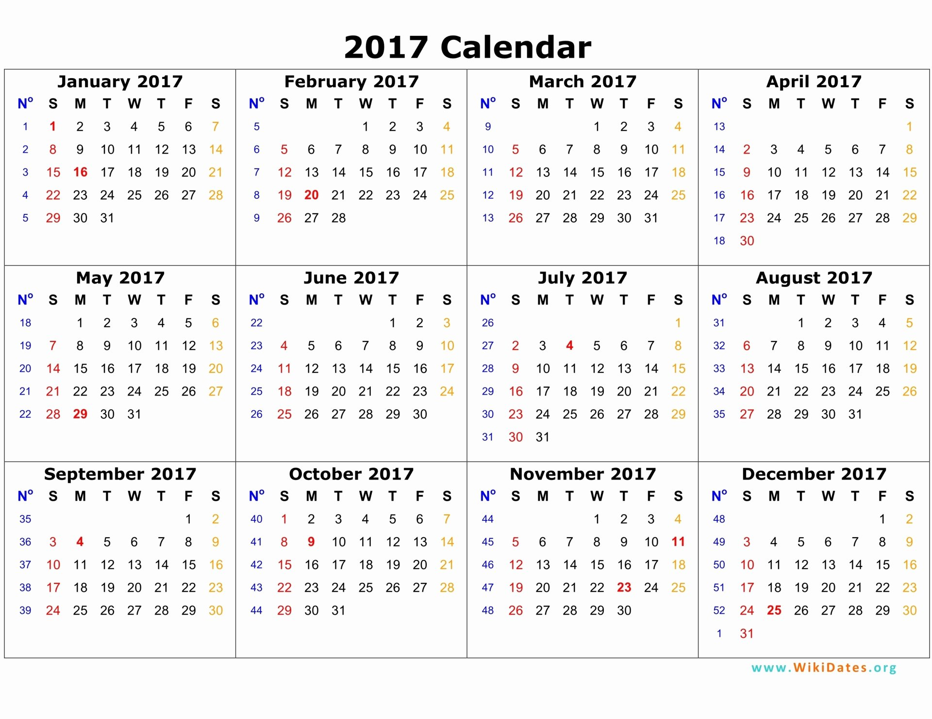 Free Yearly Calendar 2017 Inspirational 2017 Calendar