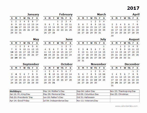 Free Yearly Calendar 2017 Inspirational 2017 Year Calendar Template Us Holidays Free Printable