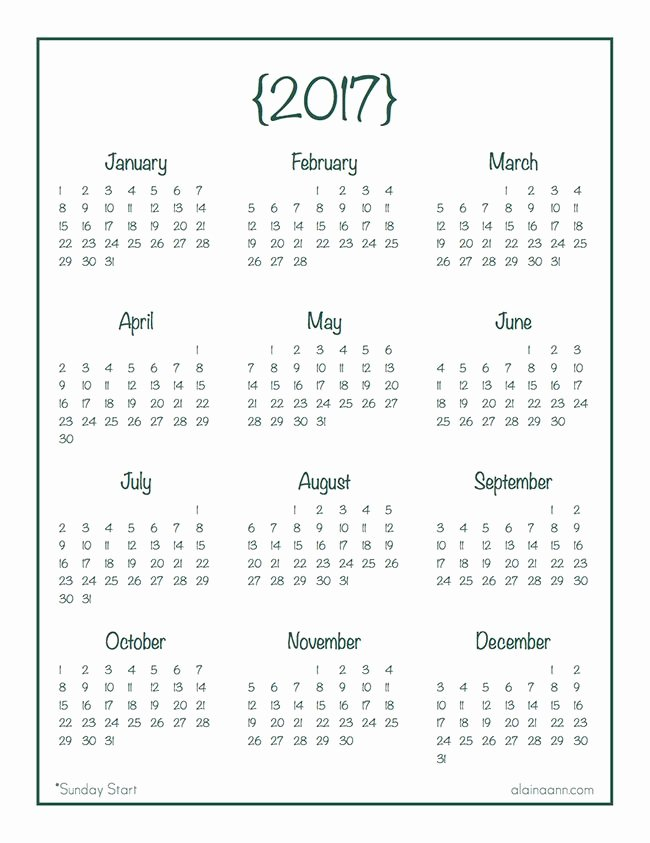 Free Yearly Calendar 2017 Lovely 2017 Year at A Glance Calendar Free Printable Alaina